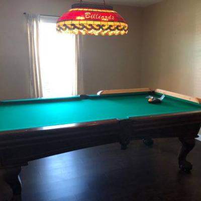 8' Pool Table with Hanging Light and Accessories